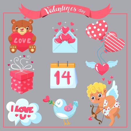Set of Valentine`s day. Design elements
