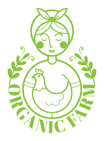 Farm logotype with woman and chicken. Vector illustration