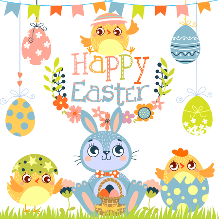 Set of Happy Easter. Rabbit,chicken and eggs. Vector illustration