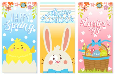 Set of Happy Easter greeting cards. Rabbit,chicken and eggs. Vector illustration Stock Vector - 73470529