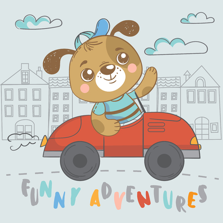 Funny puppy on car. Cute hand drawn illustration with dog on transport Illustration