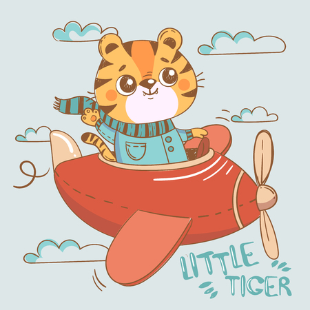 Funny tiger on plane in sky. Cute hand drawn illustration