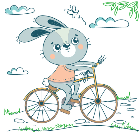 Funny rabbit on bicycle. Cute hand drawn illustration with bunny on transport