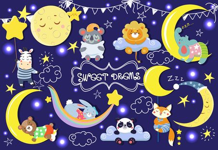 Collection with cute sleeping animals. Moons and stars. Vector illustration