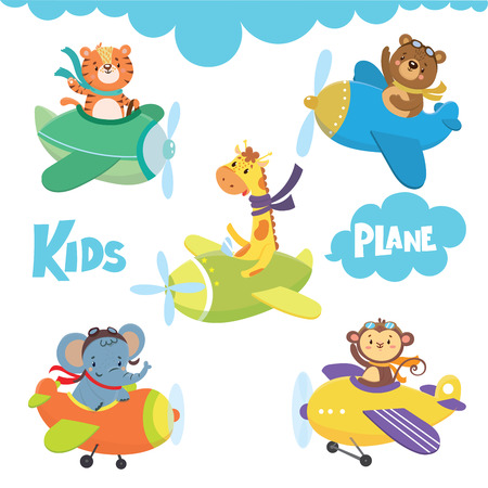 Set of cute animal on plane in sky.Funny pilots. Vector illustration Illustration