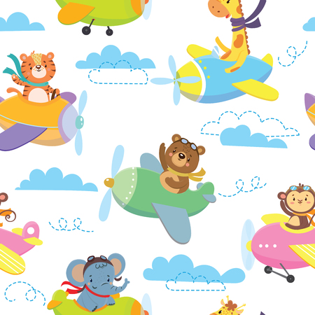 Seamless pattern with cute animal on planein sky. Vector illustration