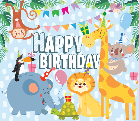Birthday greeting cards with cute animals. Vector illustration. Illustration