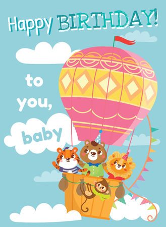 Birthday greeting cards with cute animals. Funny animals on hot air balloon. Vector illustration.