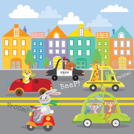 Cute animal on transport in city. Street.Vector illustration Illustration