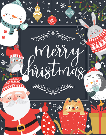 Christmas and New Year greeting card. Vector illustration. Stock Vector - 91556370