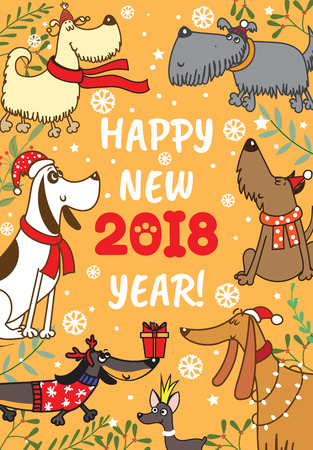 Christmas card with funny dogs. Illustration