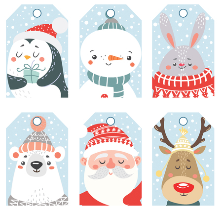 Set of Christmas and New Year labels with animals and Santa. Vector illustration. Illustration