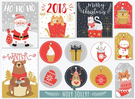 Set of Christmas and New Year greeting cards. Vintage. Vector illustration. Illustration