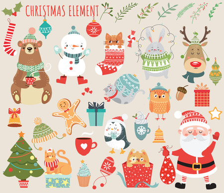 Set of Christmas and New Year elements with animals and Santa. Vector illustration. Illustration