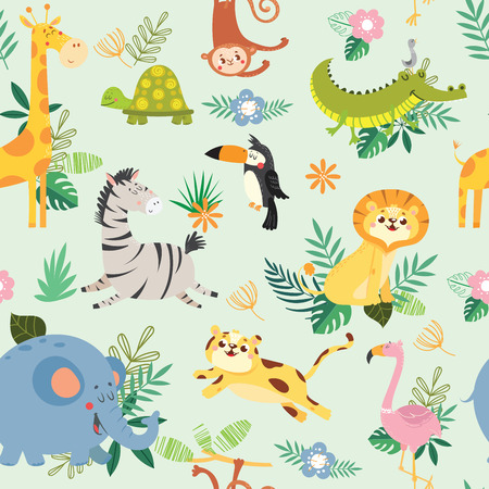Seamless pattern with cute wild animal. African safari.Vector illustration Stock Vector - 97216636