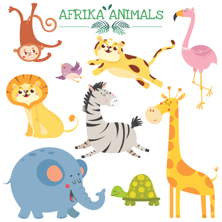 Set with cute afrikan animals. Jungle.Vector illustration