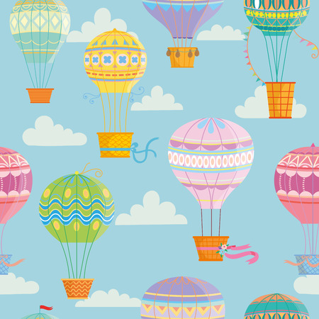 Seamless pattern with colorful  hot air balloons and animals. Vector illustration.