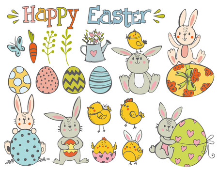 Happy Easter.  Set of Happy Easter. Rabbit,chicken and eggs. Vector illustration