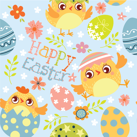 Happy Easter.  Seamless pattern of Happy Easter. Ð¡hicken and eggs. Vector illustration