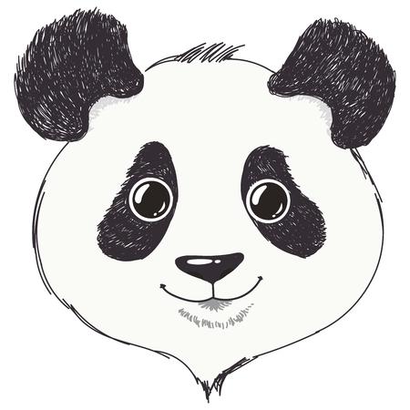 Cute panda. Portrait of funy  bear. Hand drawn.Vector illustrator