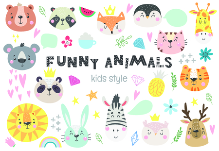 Collection of cute kids animals with funny decorative elements. Vector illustratio Vectores
