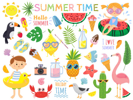Summer set with cute elements.Funny fruits, drinks, tropical. leafs, ice cream and bird. Kids on swimming circles.Vector illustration on white background Illustration