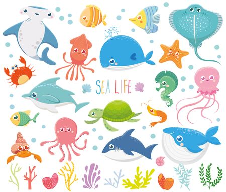 Set with funny sea animals. Marine life. Ocean wildlife. Cute illustration Ilustração