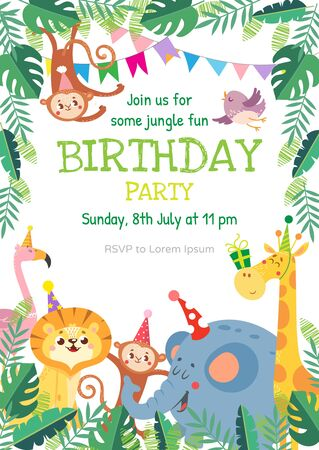 Birthday greeting cards with cute animals. Funny Jungle party. Vector illustration. 向量圖像