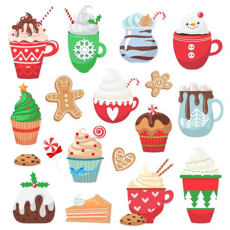 Set with holiday hot drink and dessert. Collection with funny cups. Cacao, tea, coffee, milk, cookie, candy. Vector illustration Ilustração