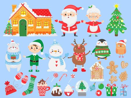 Set of Christmas and New Year elements. Santa claus & mrs. Claus. Funny Elf, deer, bear, snowman and penguin. Winter Holidays.