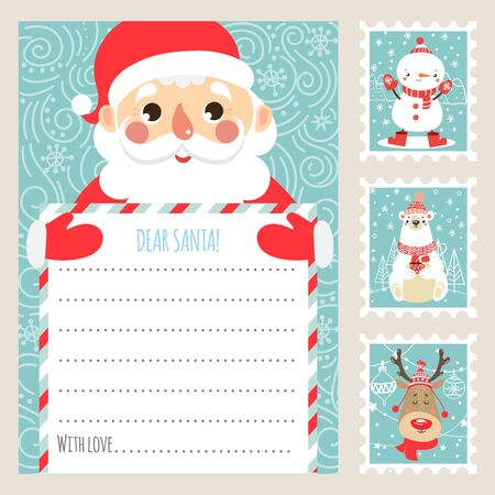 Template Christmas letter for Santa Claus. Printable card. Postage stamps illustration