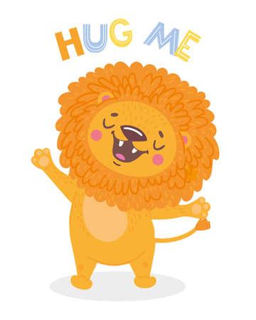 Cartoon cute lion. Hug me. Isolated objects. Vector illustration. Kids print