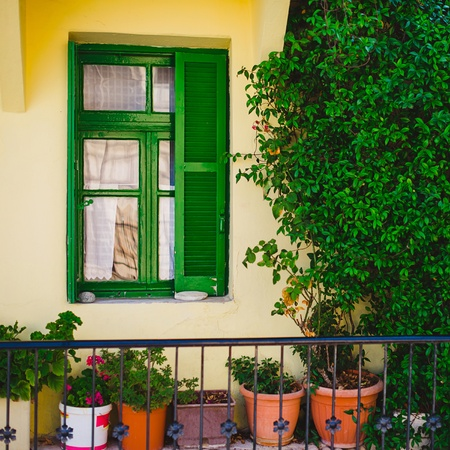 Green window with bright flowerpots under it Stock Photo - 23206954