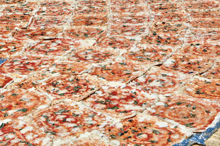A record very big pizza, made up of many pieces