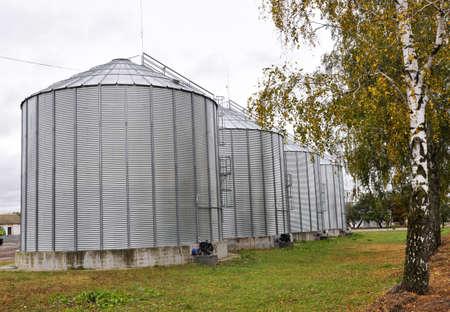 Silos. Modern industrial technologies for grain storage. 版權商用圖片