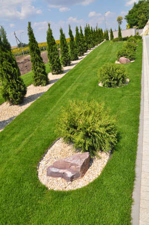 Fragments of modern design from landscaping in the garden, park, square, recreation area