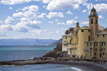 camogli church, on the beach of this small village in Liguria photo