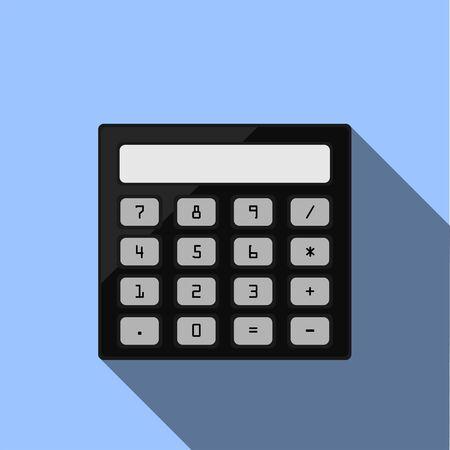 Calculator icon with shadow on blue background illustration. Ilustração