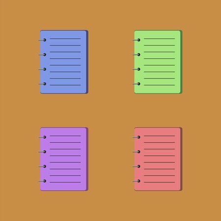 Notebooks icon set on brown background illustration.