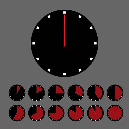 Clocks on gray background. Иллюстрация