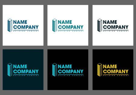 icon building company set on gray background illustration. Illusztráció