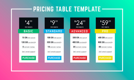 Vector pricing table template. Four tariffs for the site in flat design. Web pricing table design for business. Vektorové ilustrace