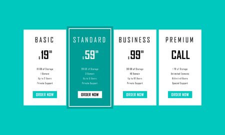Simple vector price table. Design element for website. Four tariffs for cloud service.