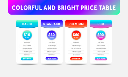 Bright vector price table for cloud service with four tariffs on gray background.