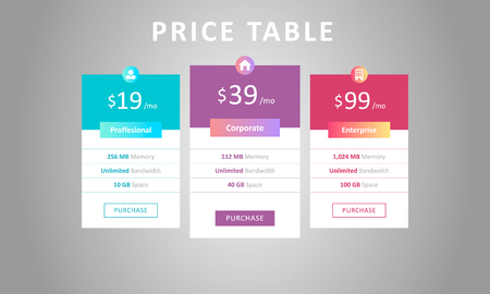 Price table template. Three tariff plans for cloud service. Web pricing table design for business. Vektorové ilustrace