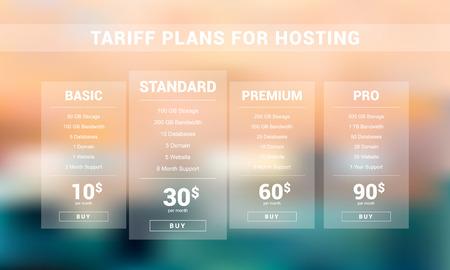 Light four tariff plans for hosting business. Vector price table.