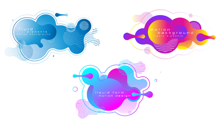 Set of liquid vivid color abstract geometric shapes. Fluid gradient elements for poster, wallpaper, banner, logo, social post. Futuristic trendy dynamic elements. Vector,  eps10. Çizim