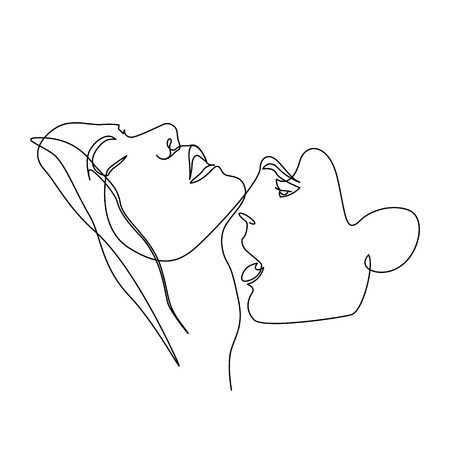 Continuous one line beautiful woman and man kisses passionately