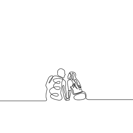 Continuous line couple in love sitting in romantic setting Illustration