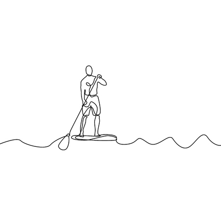 Continuous line man standing on paddle board. Vector illustration.
